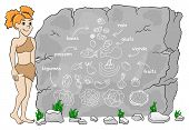 foto of cave woman  - vector illustration of a cave woman explains paleo diet using a food pyramid drawn on stone (french)