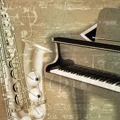 picture of grand piano  - abstract green sound grunge background with grand piano and saxophone - JPG