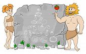 picture of cave woman  - vector illustration of a cave woman explains paleo diet using a food pyramid drawn on stone - JPG