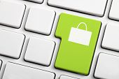 pic of electronic commerce  - Green Shopping  Button - JPG