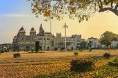 foto of palace  - sunset at Mysore Palace and flower garden Mysore India - JPG