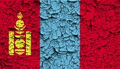 pic of mongol  - Flag of Mongolia with old texture - JPG