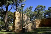 picture of stairway  - Scenic lightpost and brick stairway in Neil Hawkins Park in Joondalup - JPG