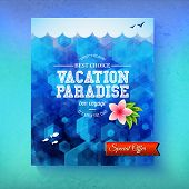 image of bon voyage  - Special offer Vacation Paradise cruise with a colorful blue sea vector poster design with fish swimming underwater and a tropical frangipani flower with text and banner in a travel and tourism concept - JPG