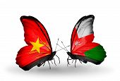 picture of oman  - Two butterflies with flags on wings as symbol of relations Vietnam and Oman - JPG