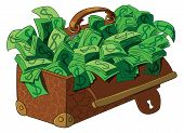pic of old suitcase  - Old suitcase full of money - JPG