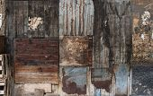 picture of wooden fence  - Old dark brown wooden and tin vintage wall or fence background - JPG