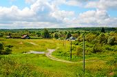 picture of dirt road  - Rural landscape with dirt road - JPG