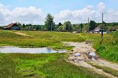stock photo of dirt road  - Rural landscape with dirt road - JPG