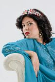 stock photo of yashmak  - Adult arabian oriental woman in blue abaya
