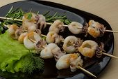 picture of cuttlefish  - Grilled cuttlefish bbq with rosemary and pepper