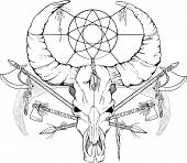 picture of spears  - image of a skull with axes and spears tattoo style black and white - JPG