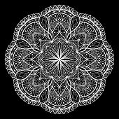 pic of lace-curtain  - Ornamental White lace vector mandala on a black background - JPG
