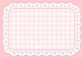 stock photo of eyeleteer  - Pastel pink quilted eyelet lace place mat for home decorating - JPG