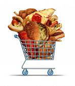 stock photo of fried chicken  - Unhealthy food shopping as a diet concept with greasy fried take out as onion rings burger and hot dogs with fried chicken french fries and pizza in a store shop cart as a symbol of consumer eating habits - JPG