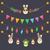foto of fairies  - fairy party Happy Easter light bulbs flags eggs rabbits hanging on dark background - JPG