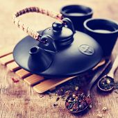 picture of teapot  - Still Life with Asian teapot and two cups, Toned image ** Note: Soft Focus at 100%, best at smaller sizes - JPG
