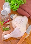 foto of gobbler  - raw chicken leg with spice on the board