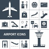 stock photo of check  - Airport decorative icons set with lounge boarding - JPG