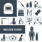 picture of decorative  - Welder decorative icons black set with worker equipment isolated vector illustration - JPG