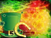stock photo of horseshoe  - Leprechaun hat and horseshoe on abstract clover background. 