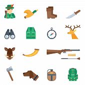 stock photo of duck-hunting  - Hunting icons flat set with knife hunter duck boots binoculars isolated vector illustration - JPG