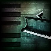 stock photo of grand piano  - abstract dark green grunge background with grand piano - JPG