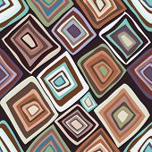 stock photo of bohemian  - Multicolor hand drawn pattern with rhombus - JPG