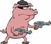 picture of revolver  - Pig robber with two revolvers vector illustration - JPG