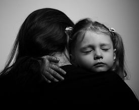 picture of sad  - Depression daughter hugging her mother with sad face - JPG