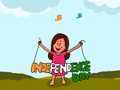 stock photo of indian independence day  - Cute little girl holding stylish tricolor text Independence Day on nature background for Indian national festival celebration - JPG