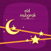 image of crescent  - Beautiful greeting card design decorated with golden crescent moons and stars for Muslim community festival - JPG
