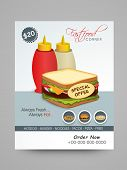stock photo of chinese menu  - Stylish menu card design with illustration of fresh sandwich for fast food restaurants - JPG