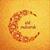 stock photo of moon-flower  - Creative crescent moon decorated with beautiful flowers on grungy yellow background for Muslim community festival - JPG