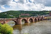pic of old bridge  - Old Bridge Over Neckar River with View of Old Town Heidelberg - JPG
