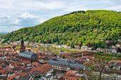 picture of old bridge  - Overview of Old Bridge Spanning Neckar River Between Old and New Towns of Heidelberg in Green Hills of Baden - JPG