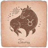 picture of zodiac  - Taurus zodiac sign horoscope vintage card - JPG