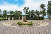 stock photo of fountain grass  - Fountain with little angels in the Ambassador hotel in south Pattaya - JPG