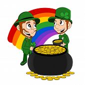 stock photo of pot gold  - Illustration of a smiling leprechauns wearing a green suits a bow - JPG