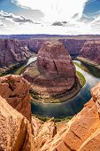 pic of horseshoe  - View at the Horseshoe Bend with Colorado river in Arizona - JPG