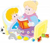 stock photo of babysitting  - Grandmother reading aloud a book of fairy tales to her grandchild lying in his bed - JPG