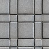 pic of paving  - Large Quadratic Gray Pattern Paving Slabs Built of Small Squares and Rectangles - JPG