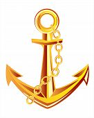 image of anchor  - Ship anchor from gild on white background insulated - JPG