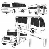 pic of four-wheel drive  - Set of 4 different buses in different positions and striped barrier - JPG