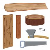 foto of firewood  - Set of wood and tools to work on wood - JPG