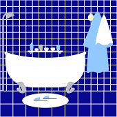 pic of oval  - Vintage bathroom interior with navy tile grey shower white bathtub and shelve over it sponge blue bathrobe and white towel on hanger pair of slippers on oval mat - JPG