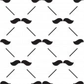 stock photo of rogue  - Retro pattern with black mustaches on white background - JPG