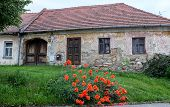 stock photo of stone house  - Old stone house in Trhove Sviny - JPG