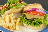 foto of hamburger-steak  - Hamburger with cheese hotdog and crinkle fries - JPG