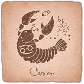 foto of cancer horoscope icon  - Cancer zodiac sign horoscope vintage card - JPG